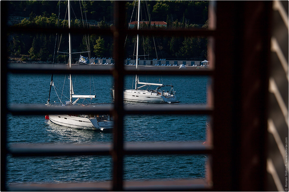 Croatia Yachting 2014. View on port from the window