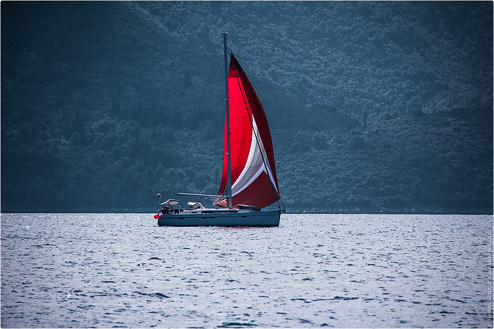 Croatia Yachting 2014. Red sail yacht