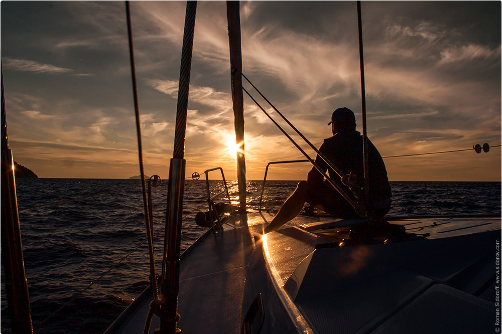 Croatia Yachting 2014. Sunset on the yacht in the Adreatic sea